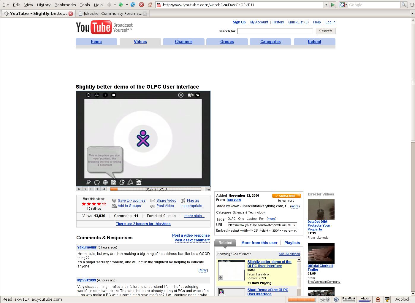 Michael Sheldon's Stuff » Playing YouTube videos without Flash