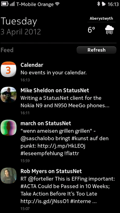 StatusNet messages in the MeeGo events feed